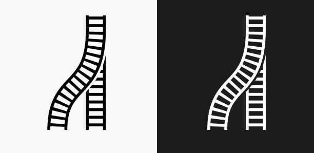 illustrations, cliparts, dessins animés et icônes de former les titres icône sur fond de vector noir et blanc - voie ferrée