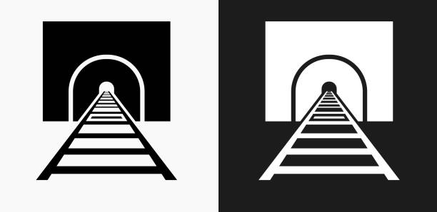 train tracks icon on black and white vector backgrounds - railroad track stock illustrations, clip art, cartoons, & icons