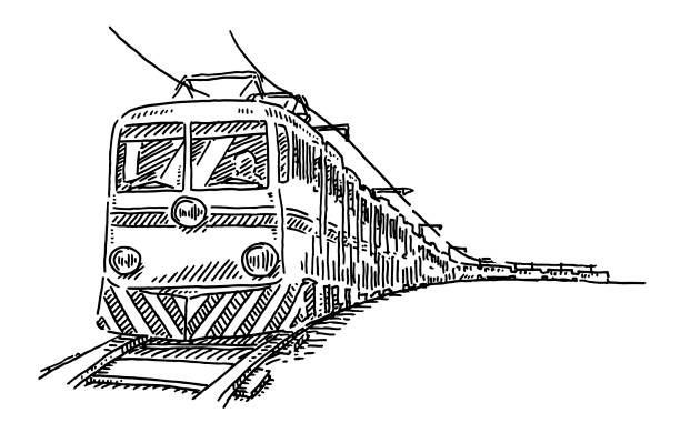 Train Travel Drawing Hand-drawn vector drawing of a Train Travel. Black-and-White sketch on a transparent background (.eps-file). Included files are EPS (v10) and Hi-Res JPG. transportation stock illustrations