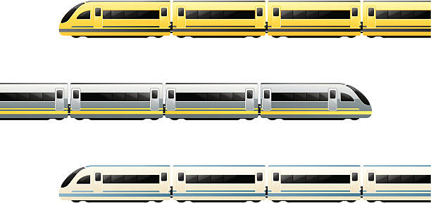 Train Trains in 3 colour schemes. Carriages separately grouped - easy to change length of trains. high speed train stock illustrations