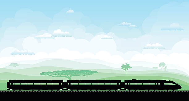 Train Train in the countryside. high speed train stock illustrations