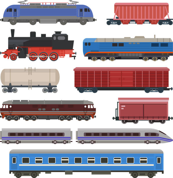 Train vector railway transport locomotive or wagon and subway or metro transportation illustration set of transportable vehicle or carriage on railroad station isolated on white background vector art illustration