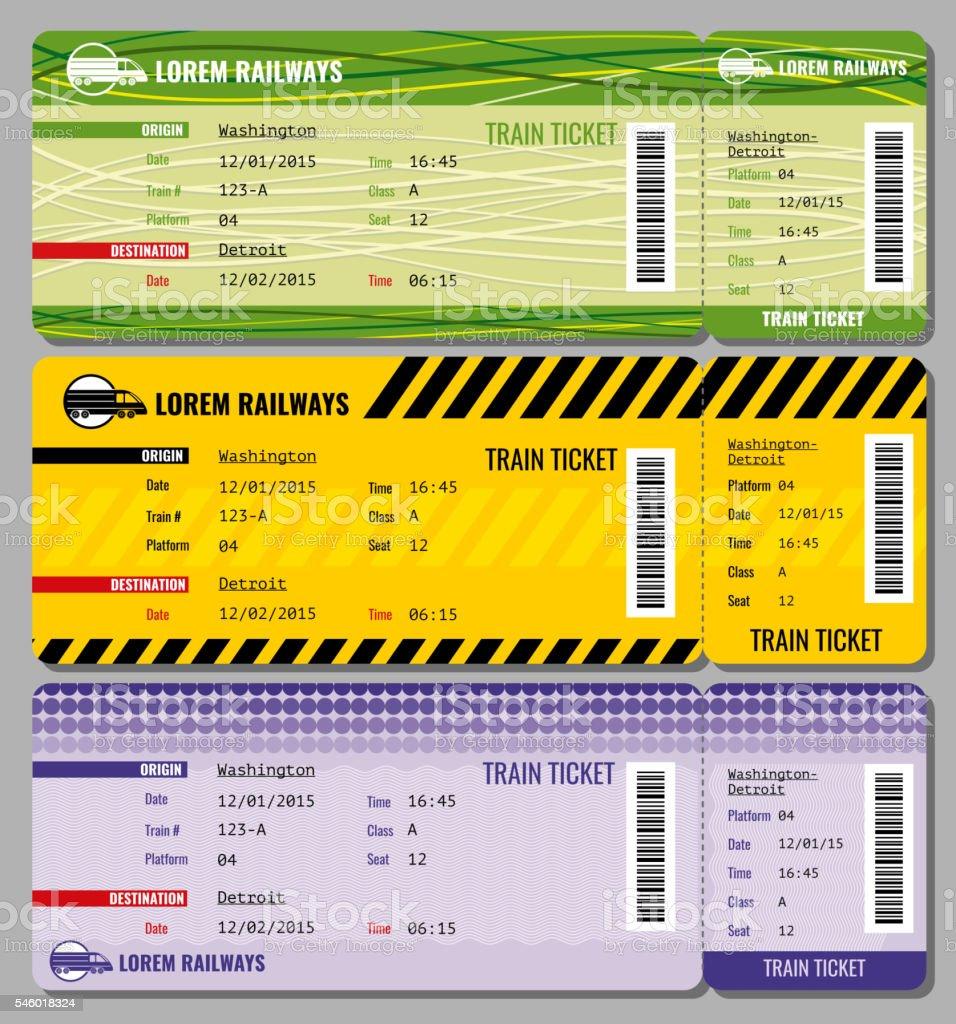 Train vintage travel tickets vector set – Vektorgrafik