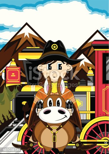 istock Train with Cowboy on Horse 451038139
