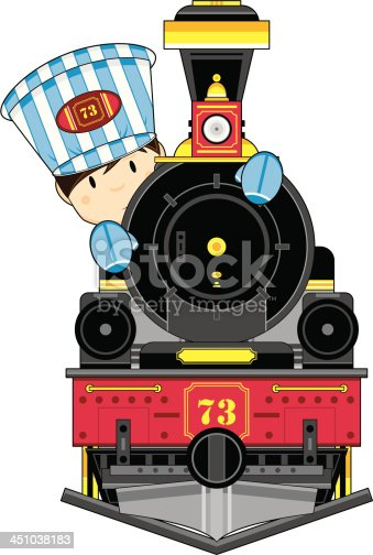 Vector Illustration of a cartoon Train Engine with Cute Driver.
