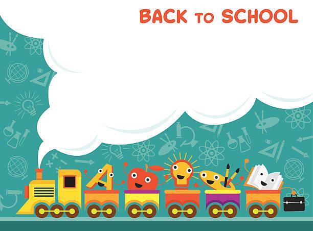 trainiere mit bildung zeichen back to school - hausfarbpaletten stock-grafiken, -clipart, -cartoons und -symbole