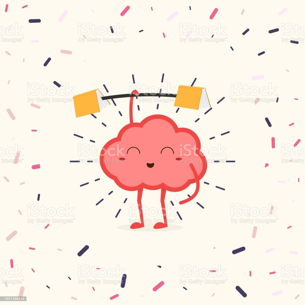 Treine seu cérebro. Cérebro humano com haste de aptidão segurando livros nas extremidades. - ilustração de arte em vetor