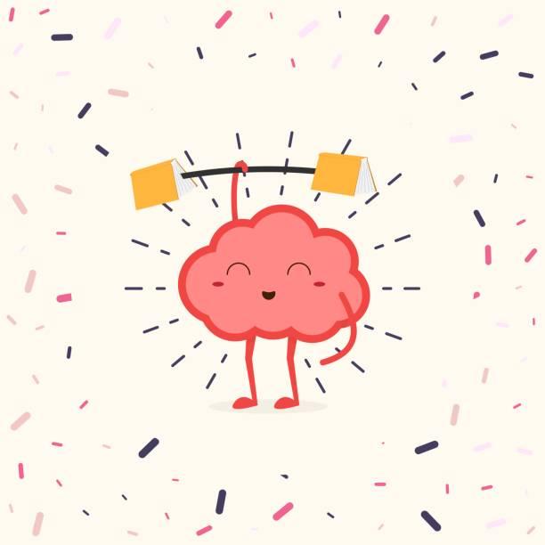 ilustrações de stock, clip art, desenhos animados e ícones de train your brain. human brain with fitness rod holding books at ends. - active brain