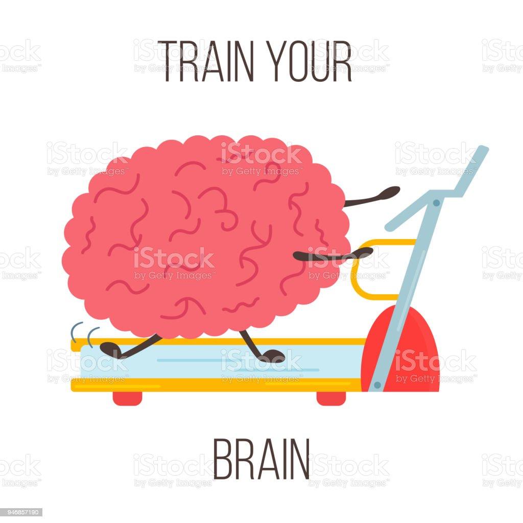 Train Your Brain Poster With Funny Cartoon Brain Stock Vector Art ...
