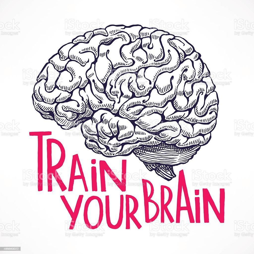 Train your brain vektör sanat illüstrasyonu