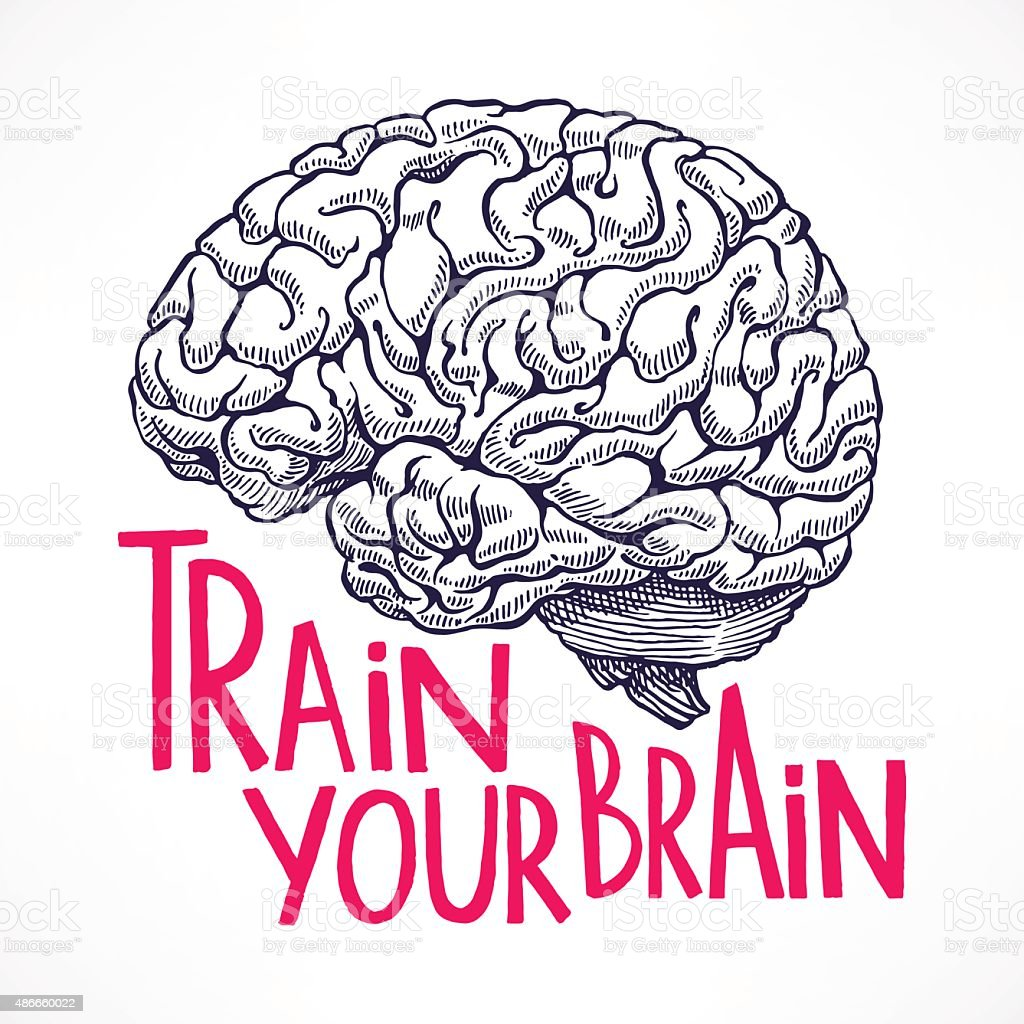 Train your brain vector art illustration