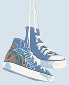 Trainers with steam punk pattern.