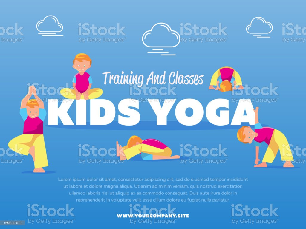 Training And Classes Kids Yoga Banner Royalty Free Stock