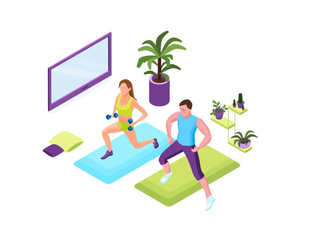 Training at home people, man and woman doing fitness in domestic room during quarantine period, 3d isometric illustration of sport exercises vector art illustration