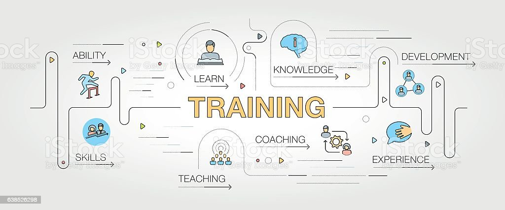 Training banner and icons - ilustración de arte vectorial