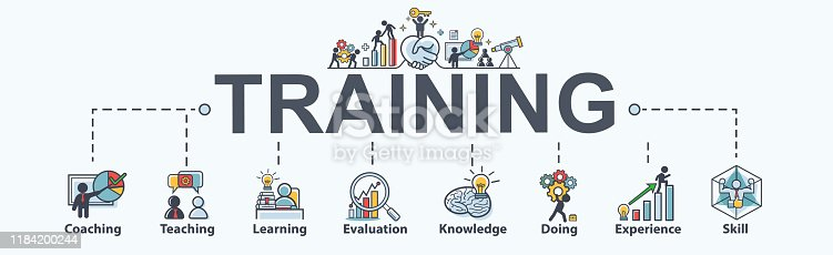 istock Training banner web icon for business and Seminar, coach, teaching, learn, evaluation, knowledge, doing, experience and skill. Minimal vector infographic. 1184200244