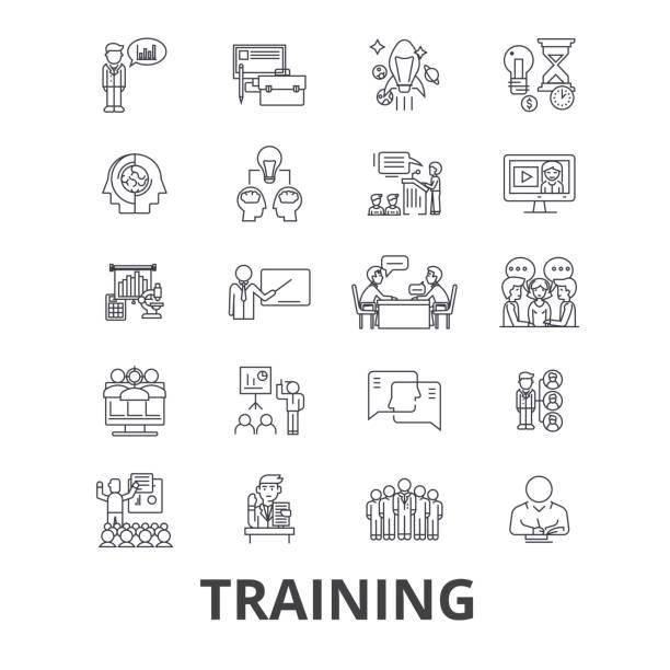 トレーニング、ビジネス学校、オンライン コース、学習、鉄道、教育、研究の行のアイコン。編集可能なストローク。フラットなデザイン ベクトル図記号の概念。線形分離標識 - 教室点のイラスト素材/クリップアート素材/マンガ素材/アイコン素材