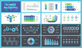Infographic set can be used for workflow layout, diagram, annual report, presentation, web. Business and training concept with process, flow, bar and percentage charts.
