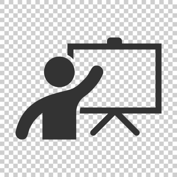 ilustraciones, imágenes clip art, dibujos animados e iconos de stock de capacitación educación en icono estilo plano. ilustración sobre fondo aislado en personas seminario vector. concepto de negocio de lección de aula de escuela. - training