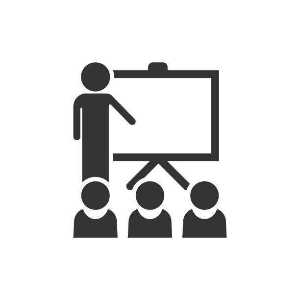 ilustraciones, imágenes clip art, dibujos animados e iconos de stock de capacitación educación en icono estilo plano. ilustración sobre fondo blanco aislado en personas seminario vector. concepto de negocio de lección de aula de escuela. - training