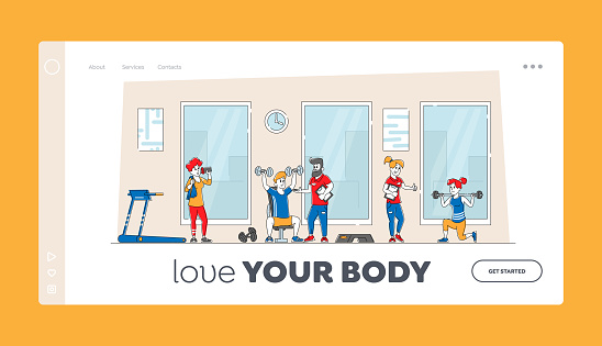 Training Exercises with Professional Trainer Landing Page Template. People Doing Fitness in Gym with Coach Help. Characters Workout with Weight. Sport Activity Healthy Life. Linear Vector Illustration