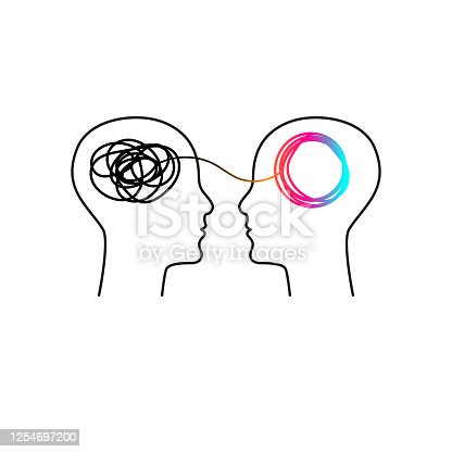 Training icon, symbol of coaching, psychological support, therapy. Two abstract profiles with tangled and untangled tangles