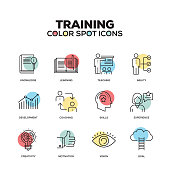Training icons. Vector line icons set. Premium quality. Modern outline symbols and pictograms.