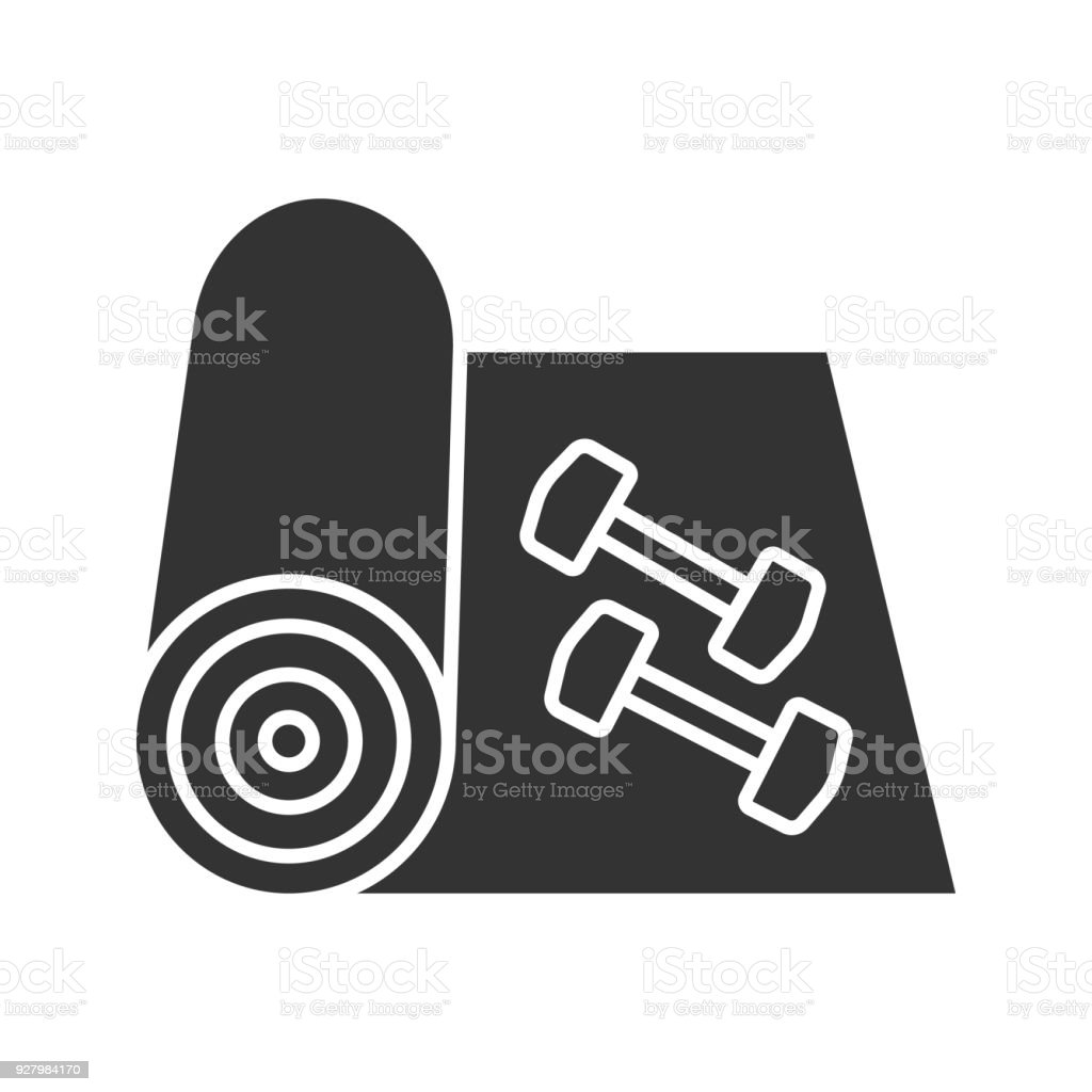 Training mat with dumbbells icon vector art illustration