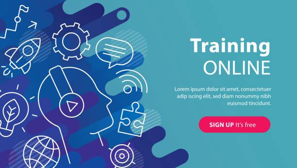 ilustrações de stock, clip art, desenhos animados e ícones de training online banner - webinar