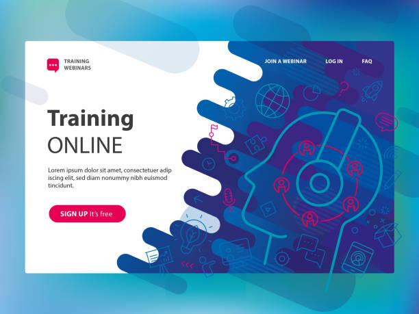 Vorlage für Schulungen online-Website – Vektorgrafik