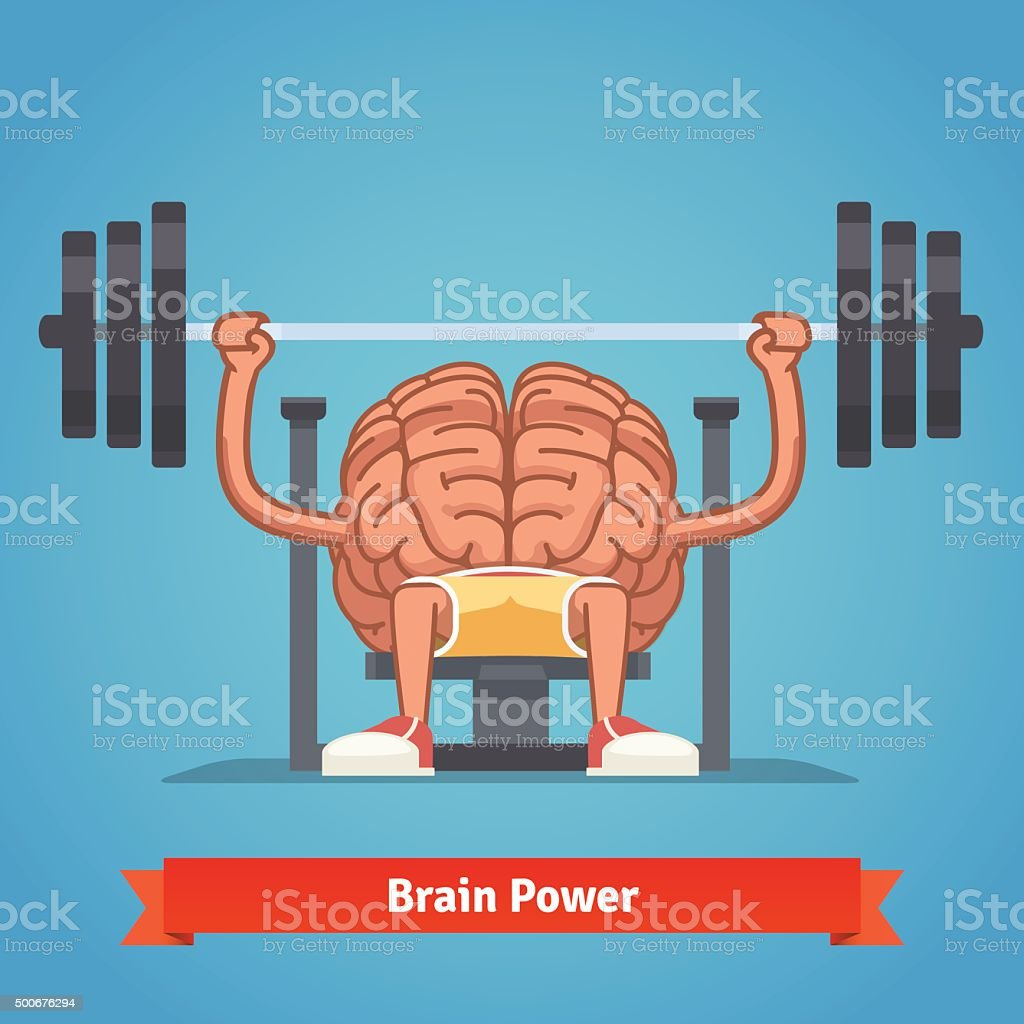 Training powerful and smart mentality vector art illustration