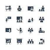 Training, presentation icon set in glyph style