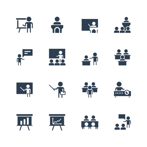 Training, presentation icon set in glyph style vector art illustration