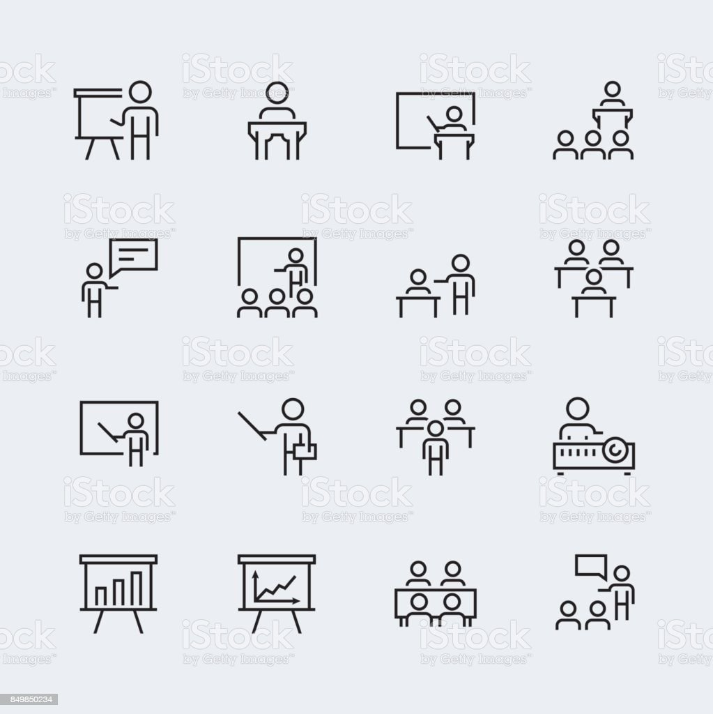Training, presentation icon set in thin line style
