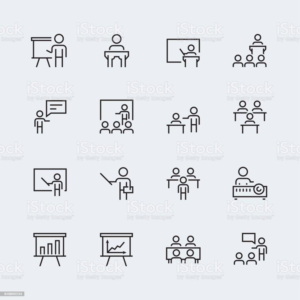 Formation, jeu d'icônes de présentation dans le style de ligne fine - Illustration vectorielle