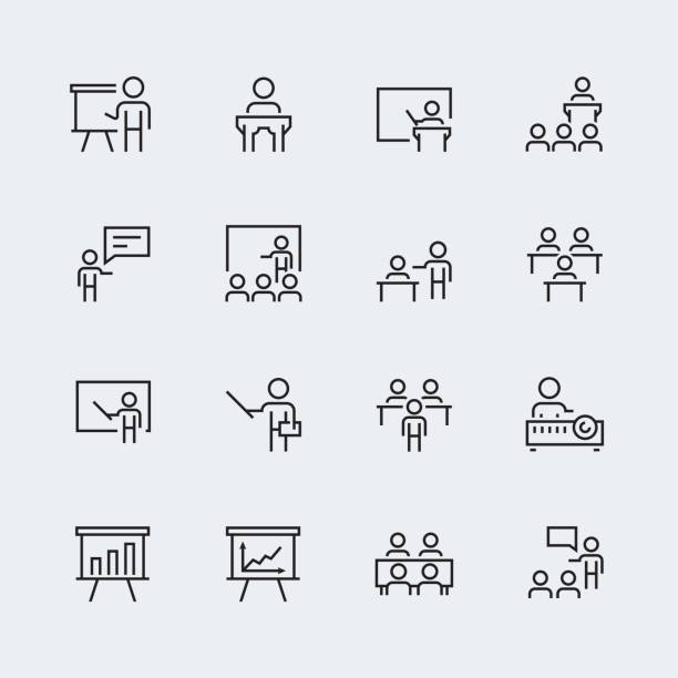 Training, presentation icon set in thin line style vector art illustration