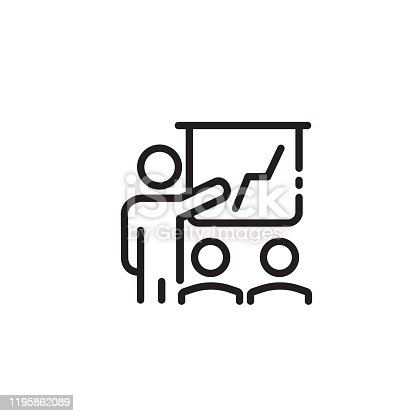 Training, presentation thin line icon. Person pointing at board with business chart isolated outline sign. Business and startup concept. Vector illustration symbol element for web design and apps.