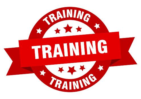 training ribbon. training round red sign. training