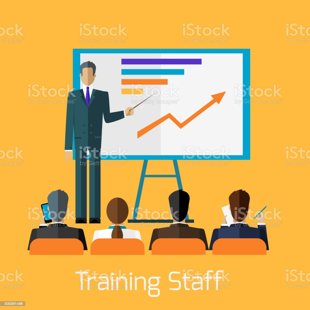 Training Staff Briefing Presentation vector art illustration