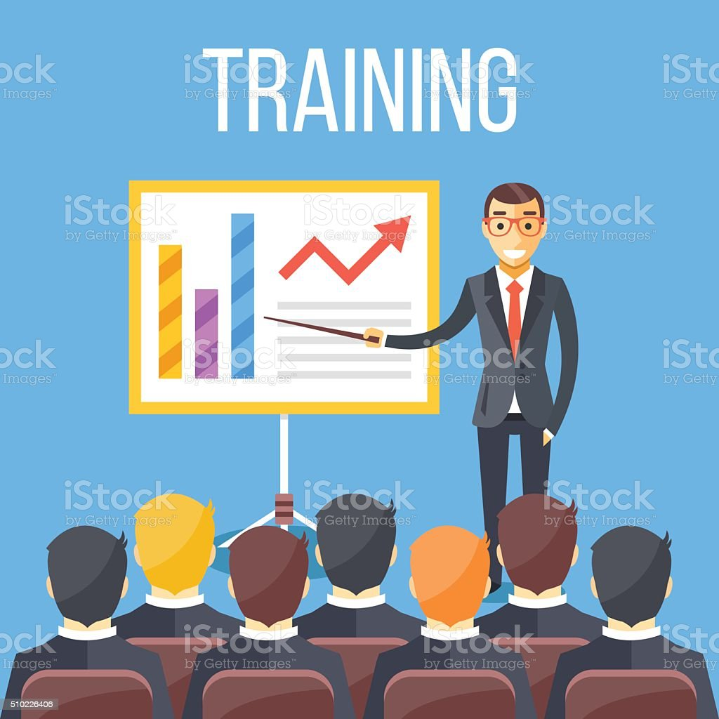 Entraînement personnel, une présentation commerciale, une réunion, entreprise école. Vector illustration plat - Illustration vectorielle