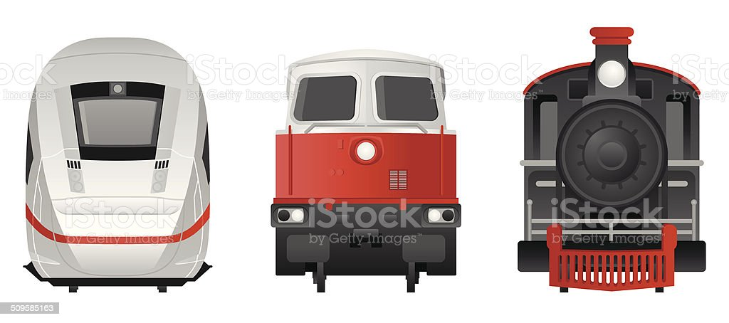 Trains - Frontview vector art illustration