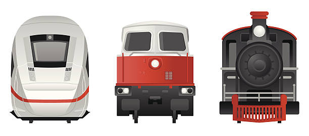 stockillustraties, clipart, cartoons en iconen met trains - frontview - trein