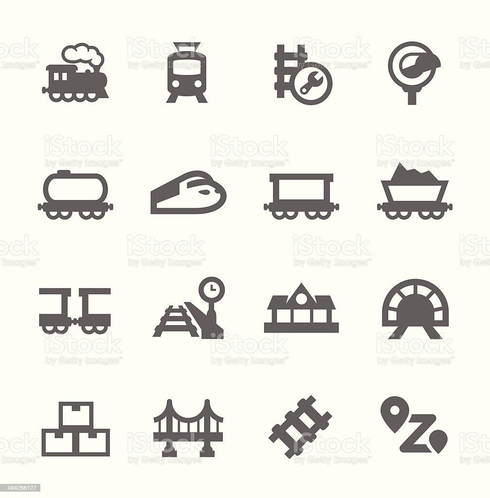 Trains Icons vector art illustration