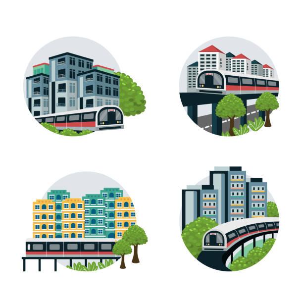stockillustraties, clipart, cartoons en iconen met treinen in singapore - singapore
