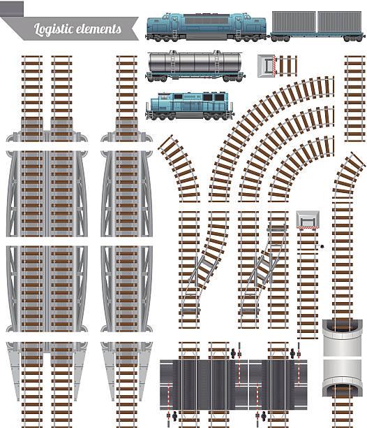 trains set and railroad - railroad track stock illustrations, clip art, cartoons, & icons
