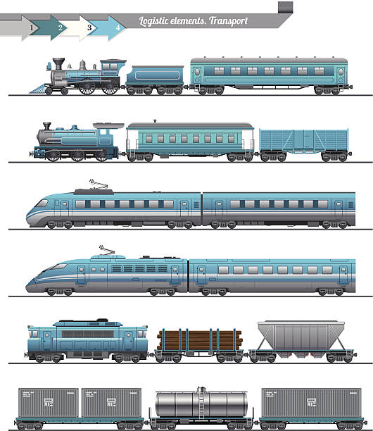 trains set - train stock illustrations, clip art, cartoons, & icons