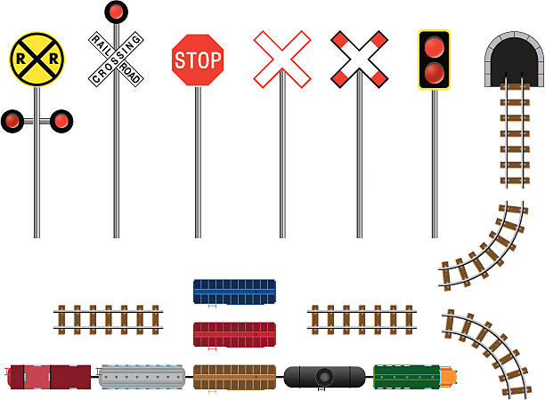 trains, tracks, tunnels & signs - crossing stock illustrations, clip art, cartoons, & icons
