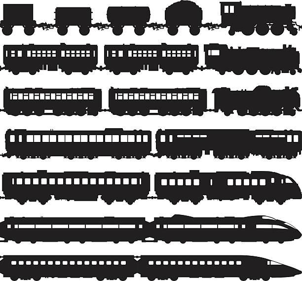 트레인 (객차 손쉽게 분리 또는 복제되었습니다 - 기차 실루엣 stock illustrations