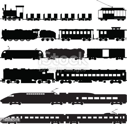 Vector silhouettes of different types of trains: steam locomotives, diesel locomotives, cars and bullet trains for different applications.