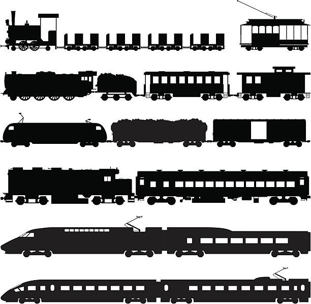 교육 - 기차 실루엣 stock illustrations